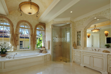 Waterfront mediterranean turtle beach construction for Bathroom remodel jupiter fl